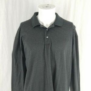 Nike Golf Mens Large Striped Black Golf Polo